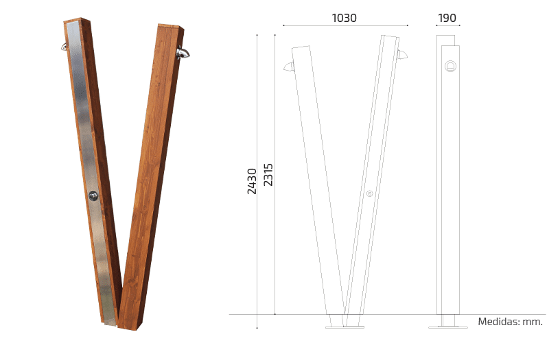 Duchas exterior acero inoxidable y madera - Win