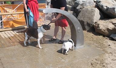 ducha para perros de acero inoxidable
